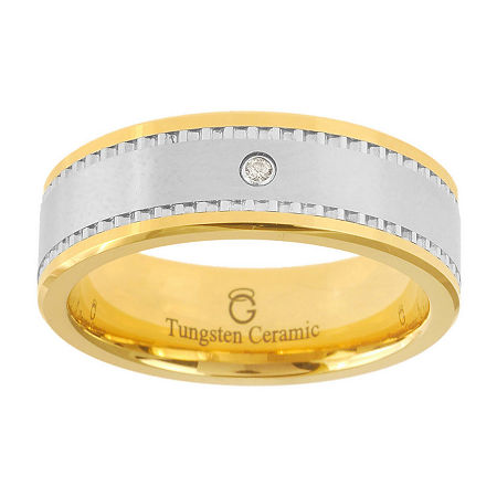 Ceramic & Tungsten Ring with Diamond Accent, 11 , No Color Family
