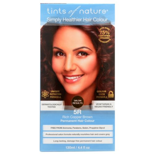 Permanent Hair Color 5R Rich Copper Brown 4.4 Oz by Tints of Nature