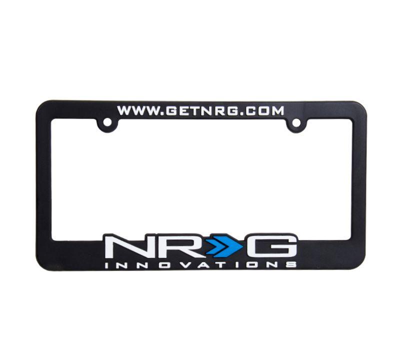 NRG LPF-100 License Plate Frame White with blue