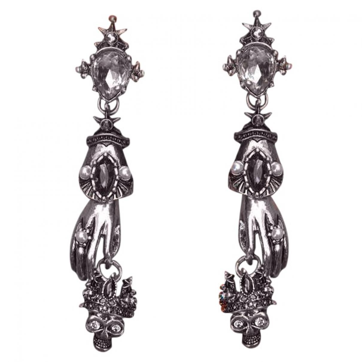 - Boucles doreilles Art Deco pour femme en acier - metallise