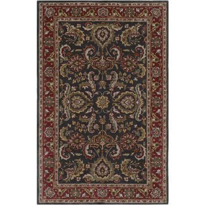 AWHY2061-913 9' x 13' Rug  in Bright Red and Charcoal and Mustard and Dark Brown and Olive and Tan and Ivory and