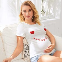 Maternity Cuffed Sleeve Heart & Letter Graphic Top