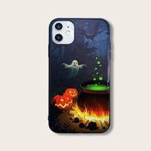 Halloween iPhone Etui mit Geist & Kuerbis Muster