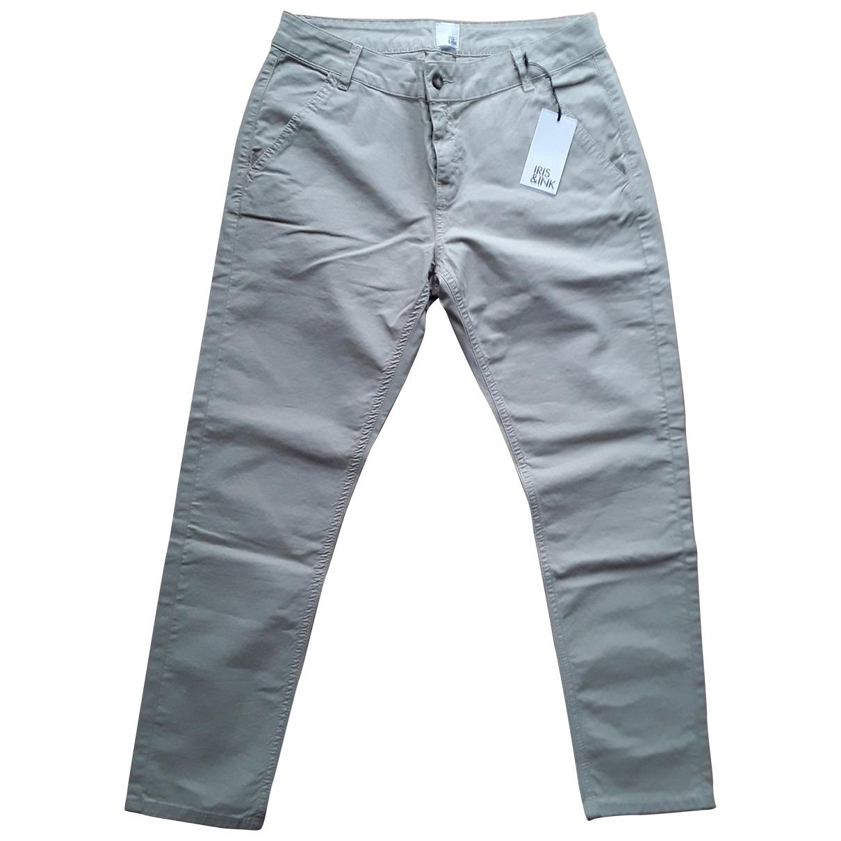 Iris & Ink \N Beige Cotton Trousers for Women 12 UK