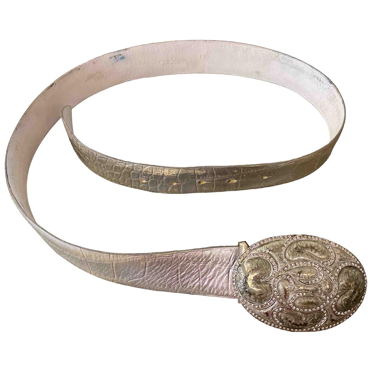 Orciani \N Guertel in  Silber Leder