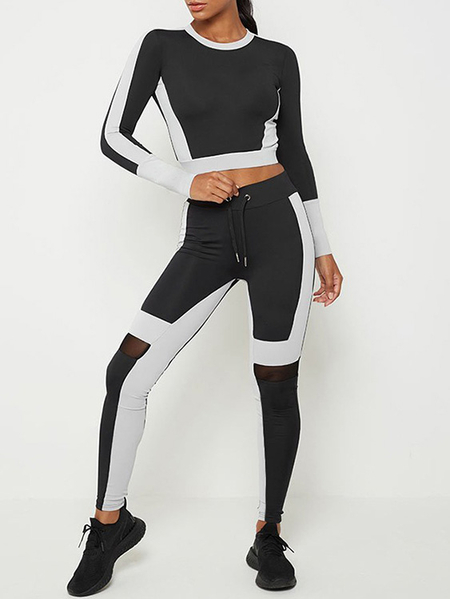 Yoins Black Color Block Round Neck Long Sleeves Two Piece Outfit