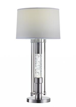 347215 15 X 15 X 32 Brushed Nickel Metal Glass LED Shade Table Lamp in White