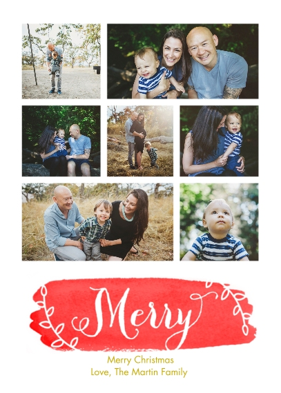 Christmas Photo Cards 5x7 Cards, Premium Cardstock 120lb with Elegant Corners, Card & Stationery -Merry in Watercolor by Posh Paper