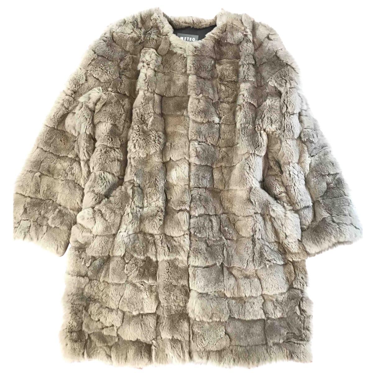 Meteo \N Beige Rabbit coat for Women 42 IT