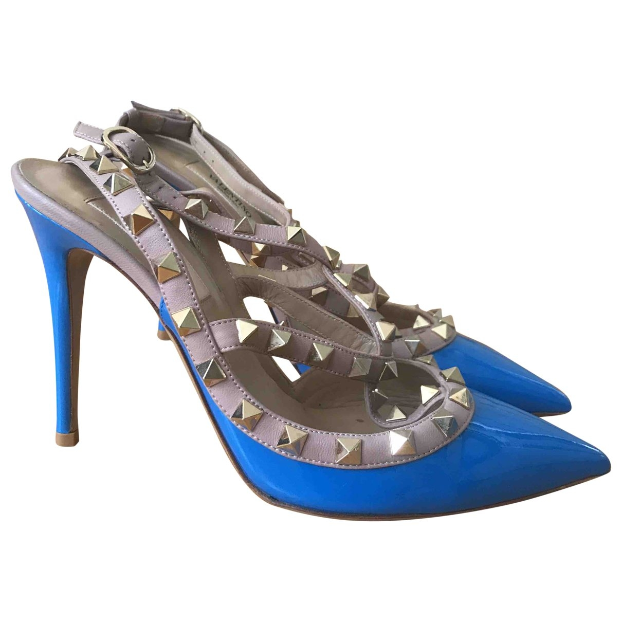 Valentino Garavani Rockstud Blue Patent leather Heels for Women 36 EU