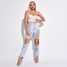 Light Wash Destroyed Ripped Jeans