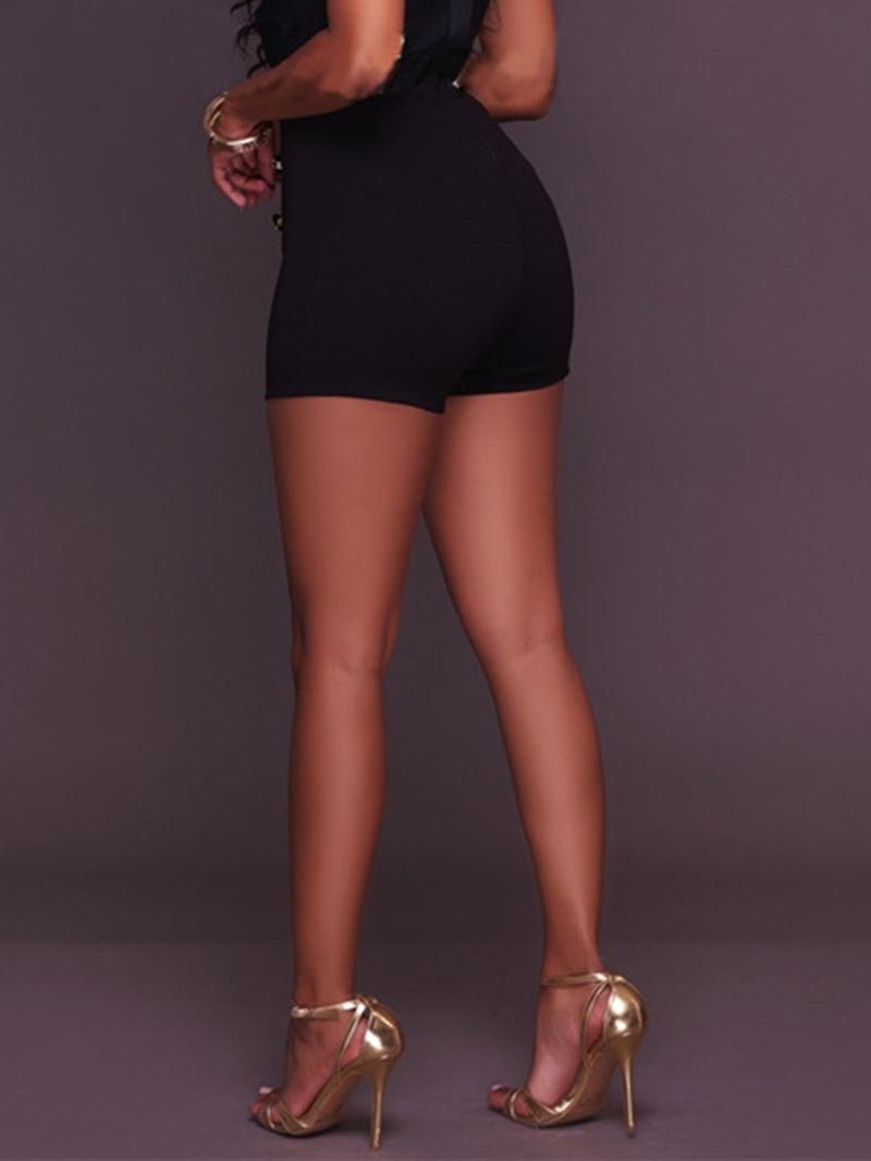 Ericdress Plain Button Straight High-Waist Straight Shorts