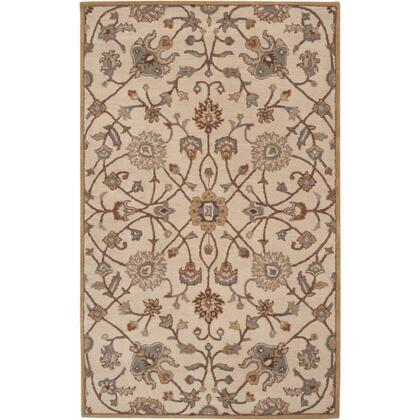 Caesar CAE-1081 6' x 9' Rectangle Traditional Rug in Khaki  Medium Grey  Camel  Dark Brown  Tan