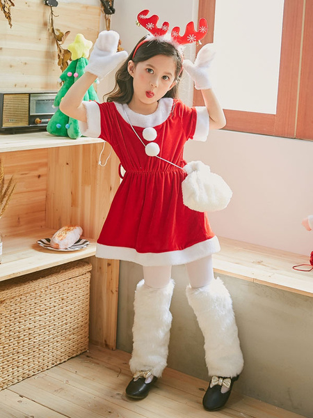Milanoo Christmas Costume Kids Outfit Dresses Bags Gloves 3 Piece Set For Little Girls Halloween