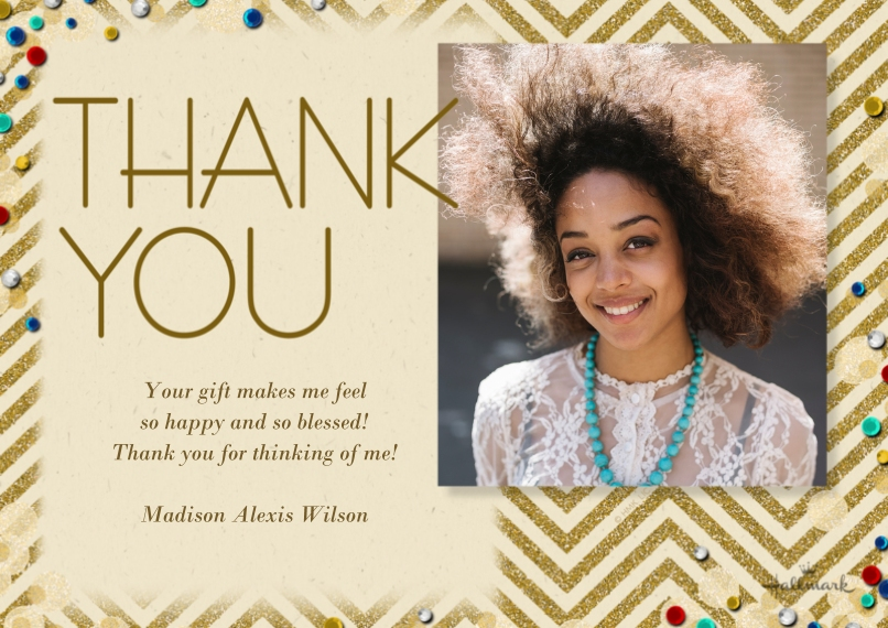 Thank You Cards 5x7 Cards, Premium Cardstock 120lb, Card & Stationery -Chevron and Confetti