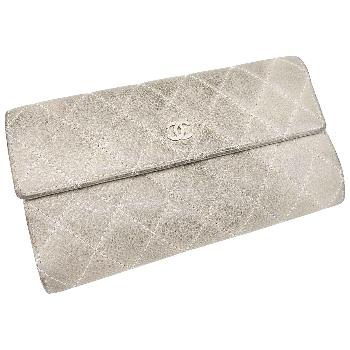 Chanel - Portefeuille Timeless/Classique pour femme en cuir - gris