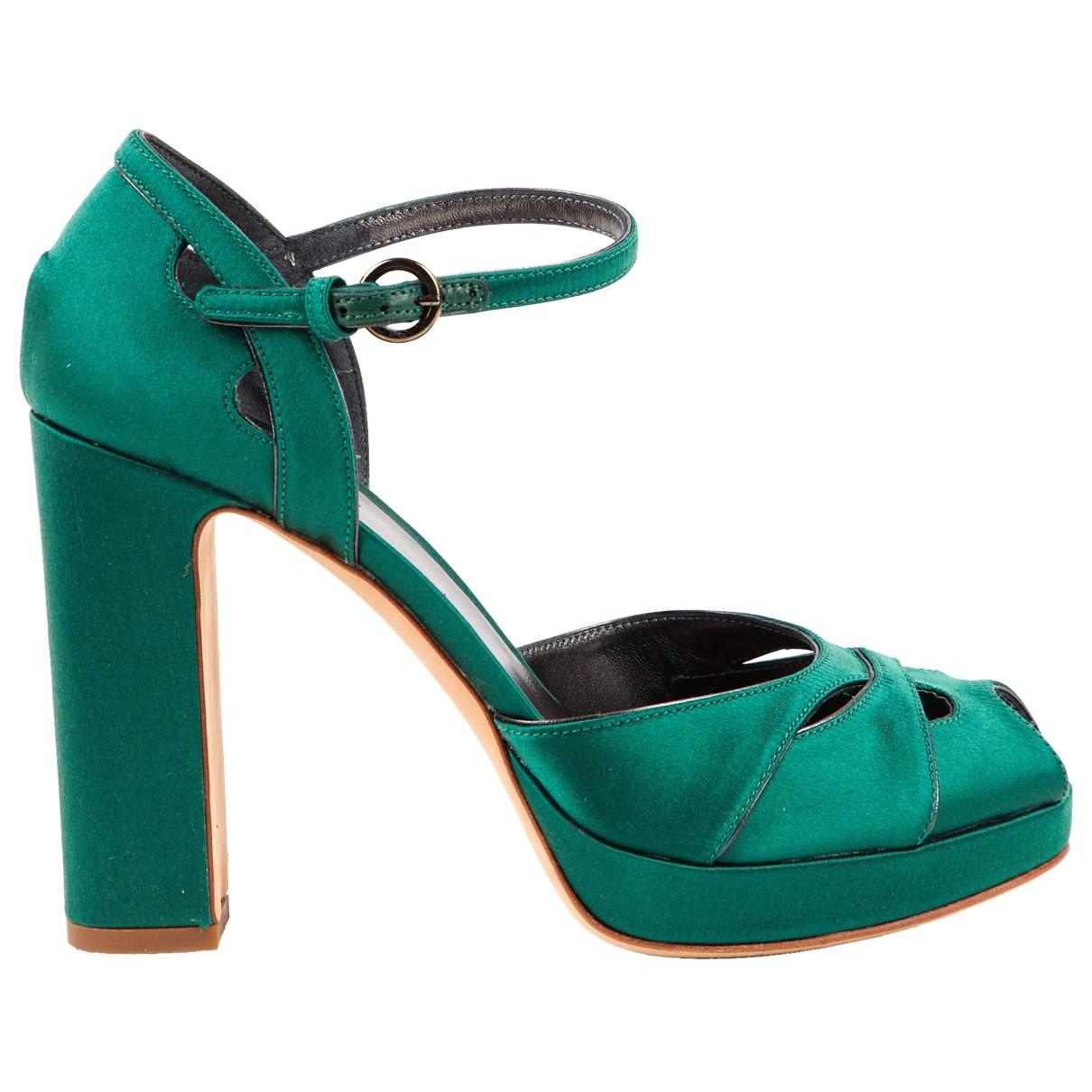 Miu Miu - Escarpins   pour femme en toile - vert