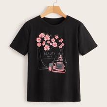 T-Shirt mit Parfuem & Blumen Muster