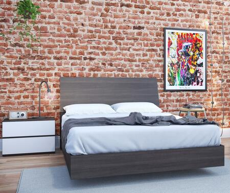 400758 Momentum 3 Piece Full Bedroom Set with Platform Bed + Headboard + Nightstand  in White Matte Lacquer And Ebony