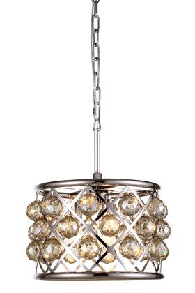 1214D12PN-GT/RC 1214 Madison Collection Pendant Lamp D: 12in H: 9in Lt: 3 Polished Nickel Finish Royal Cut Golden Teak