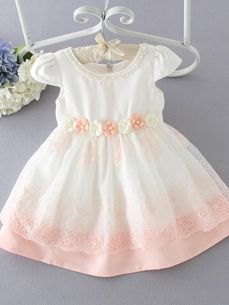 Ericdress Foral Lace Bead Short Sleeve Princess Girls Dress