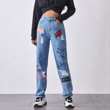 Letter Graphic Ripped Detail Mom Jeans