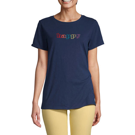 St. John's Bay-Womens Crew Neck Short Sleeve T-Shirt, Large , Blue