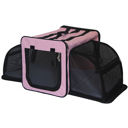 Pet Life Capacious Dual-Expandable Wire Folding Lightweight Collapsible Travel Pet Dog Crate, One Size , Pink