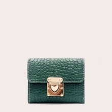 Croc Embossed Push Lock Purse