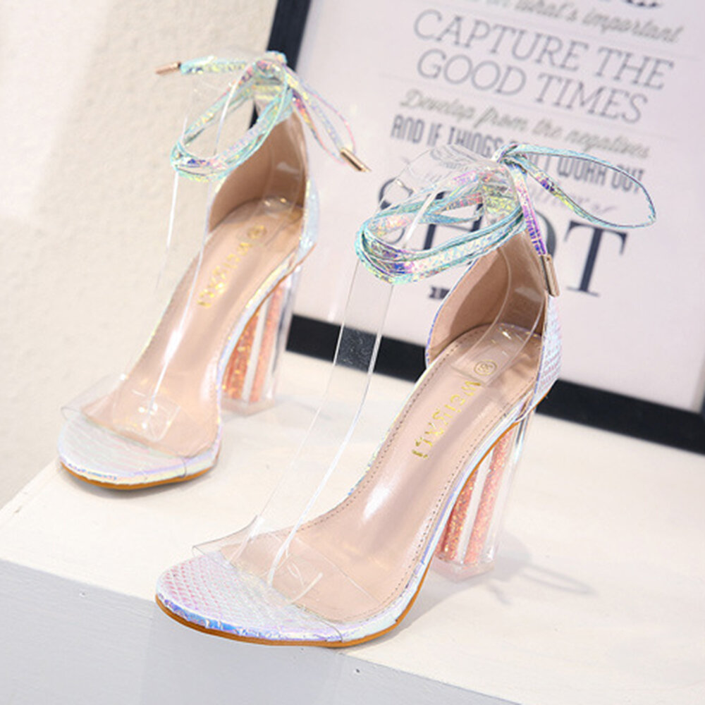 Women Colour Shine Band Lace Up Transparent Chunky Shoes