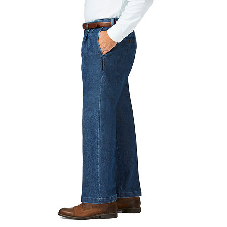 Haggar - Big and Tall Stretch Denim Plt Classic Fit Pleated Pant, 52 30, Blue