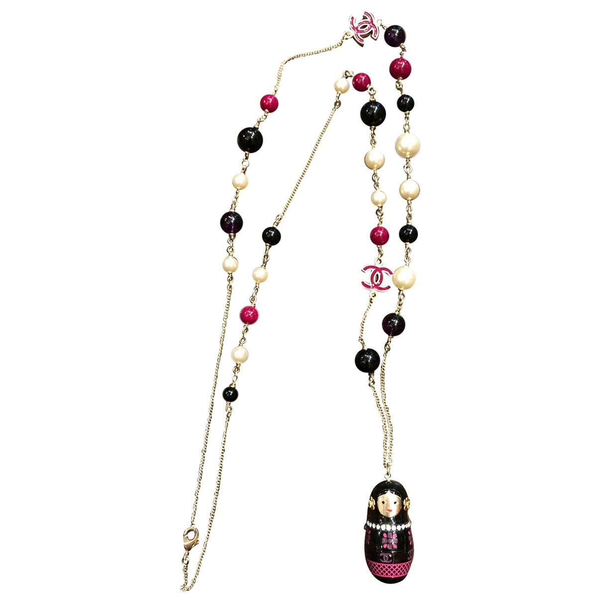Chanel - Sautoir CC pour femme en metal - rose