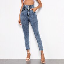 Button Wide Waistband Skinny Jeans