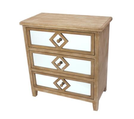 BM204775 Wood and Mirror Trim Storage Cabinet with 3 Drawers  Brown and