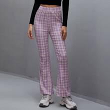 Hose mit Karo Muster und elastischer Taille