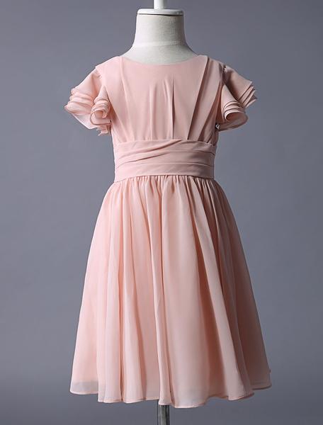 Milanoo Vestido de damitas de chifon con escote redondo y adorno arrugado