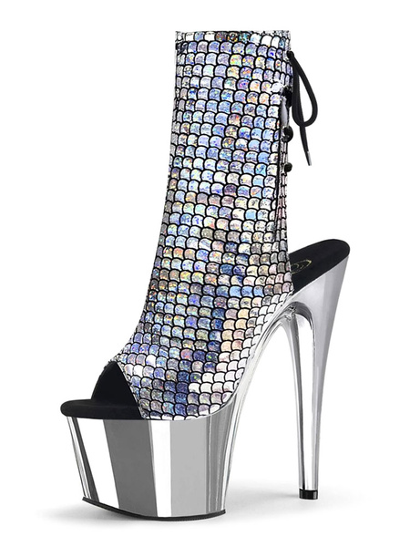 Milanoo Sexy High Heel Boots Peep Toe Lace Up Zipper Stiletto Rave Club Back Tie Silver Sexy Ankle Boots
