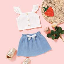 Baby Girl Frill Top & Paperbag Skirt