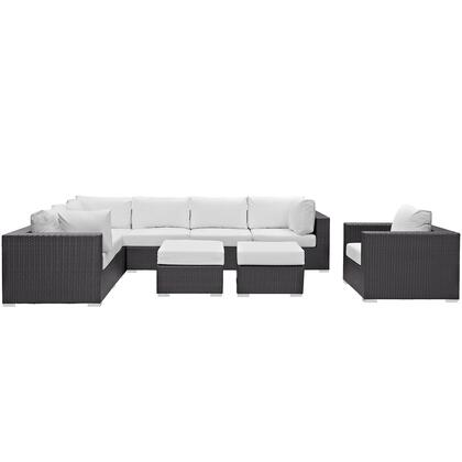Convene Collection EEI-2208-EXP-WHI-SET 9 Piece Outdoor Patio Sectional Set in Espresso White