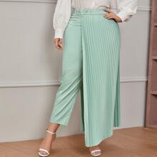 Plus Rhinestone Buckle Belted Pants With Pleated Skirt