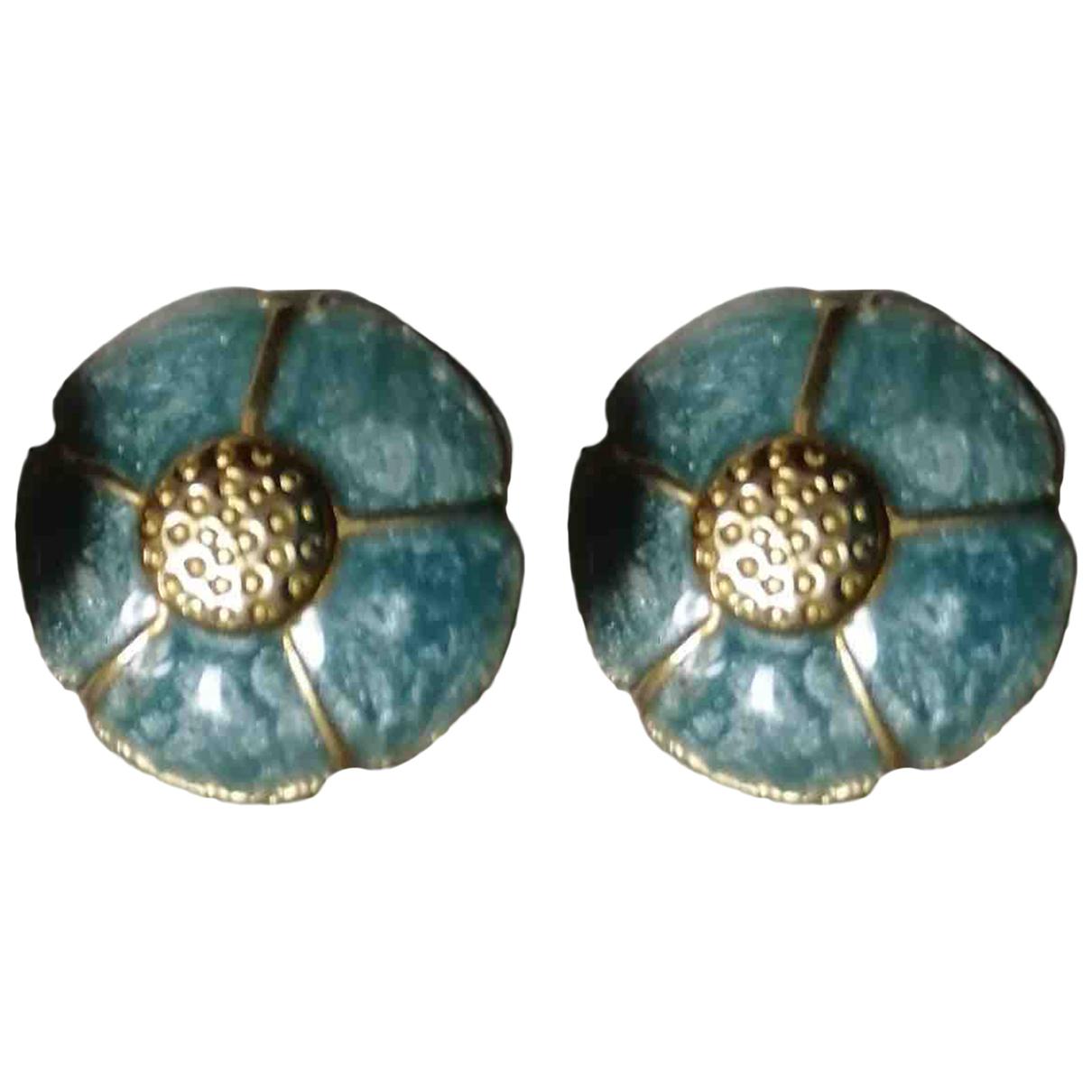 - Boucles doreilles Motifs Floraux pour femme en metal - bleu