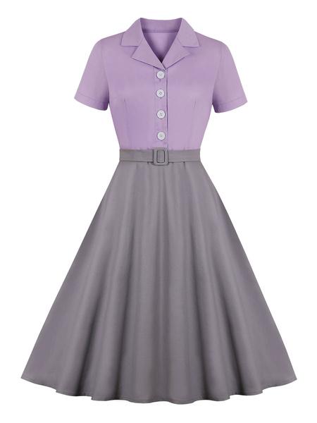 Milanoo Vestido vintage Botones en capas de bloque de color lila de los años 50 Manga corta Cuello vuelto Vestido entallado Vestido de vuelo