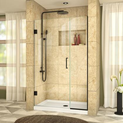 SHDR-244207210-09 Unidoor Plus 42-42 1/2 W X 72 H Frameless Hinged Shower Door  Clear Glass  In Satin