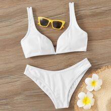 Gerippter Bikini Badeanzug mit V Ausschnitt