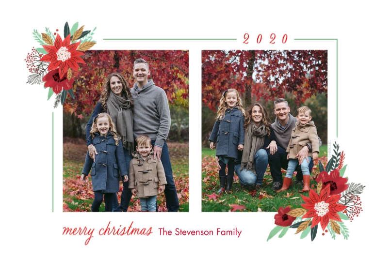 Christmas Photo Cards 5x7 Cards, Premium Cardstock 120lb with Elegant Corners, Card & Stationery -2020 Poinsettia-Edged Photo Card by Hallmark