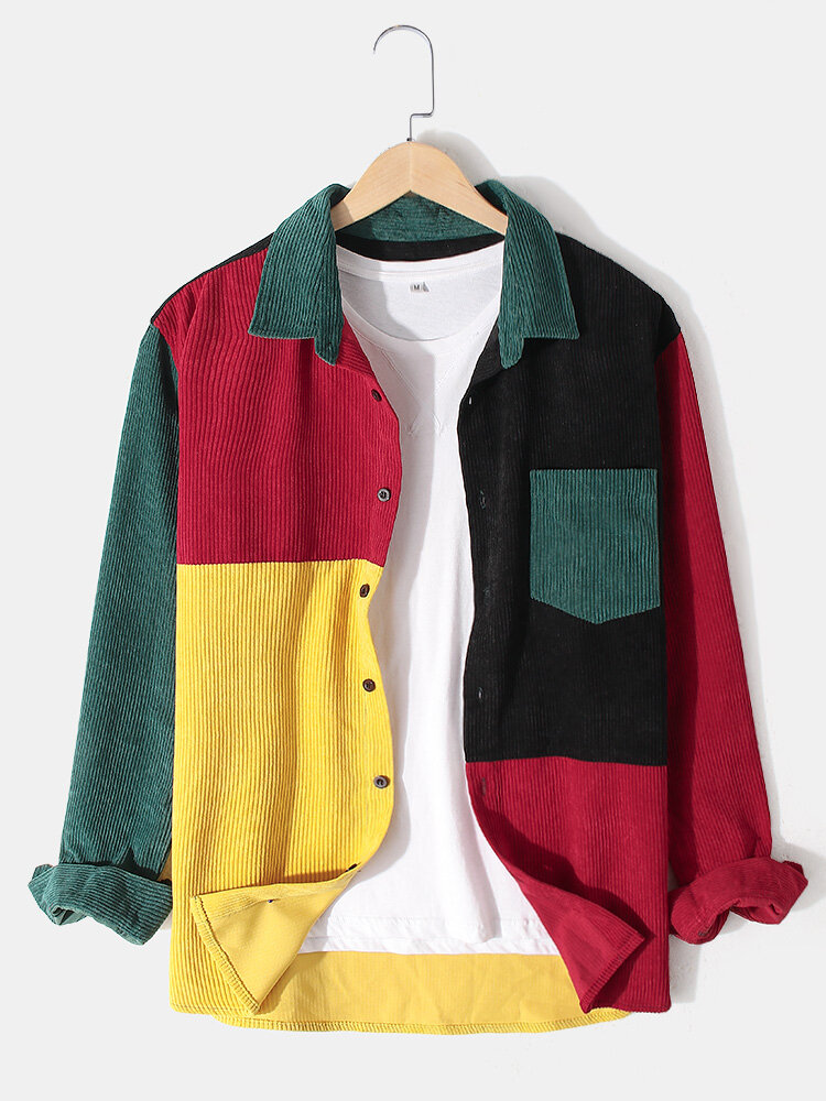 Mens Corduroy Color Block Stitching Long Sleeve Shirts With Pocket