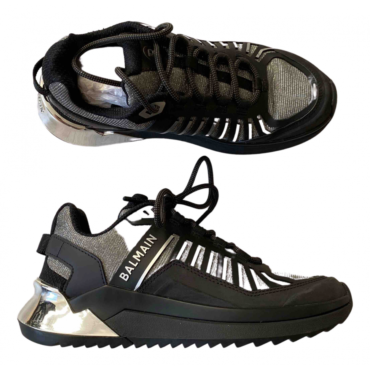 Balmain \N Sneakers in  Schwarz Leinen