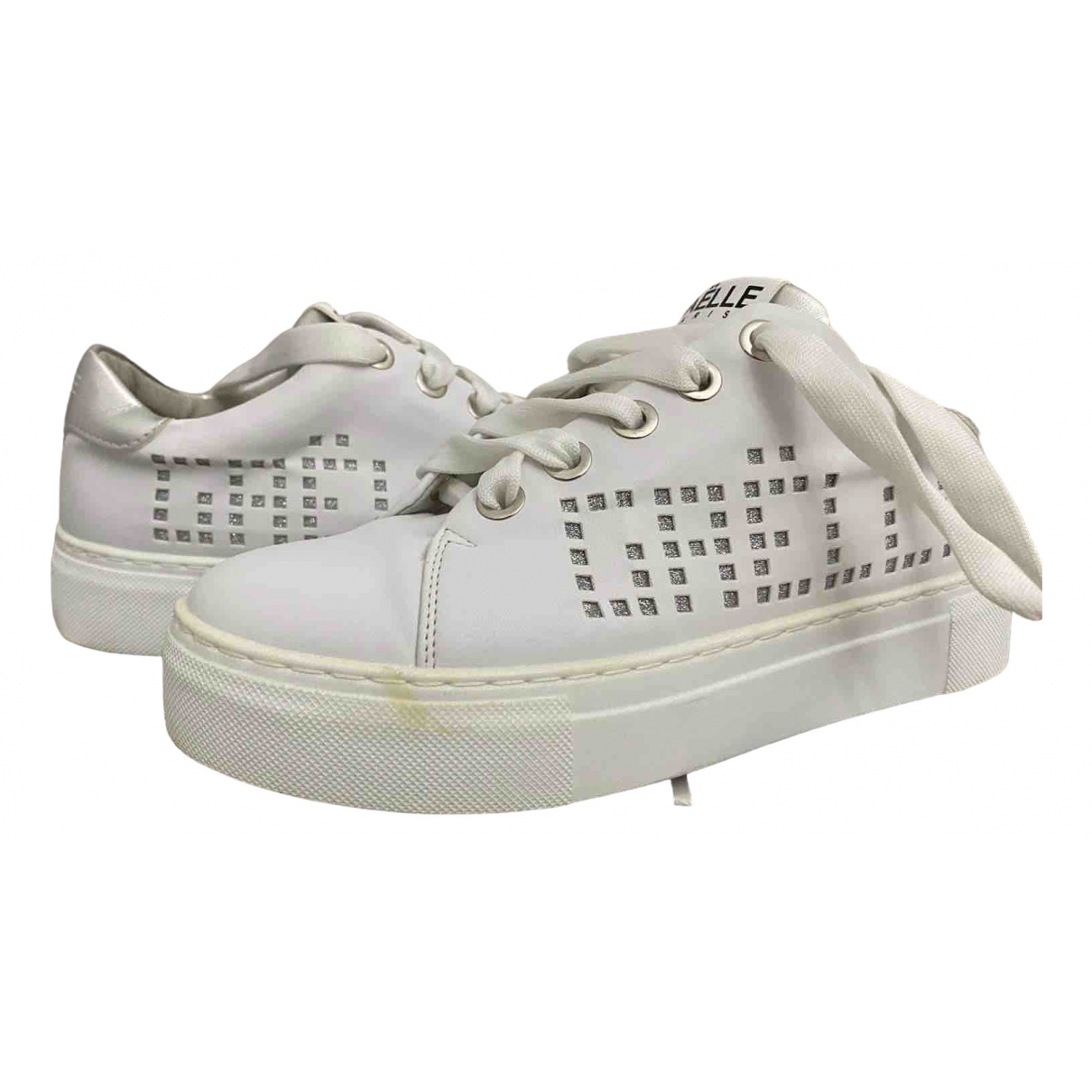 Gaelle Paris \N White Leather Trainers for Women 38 IT