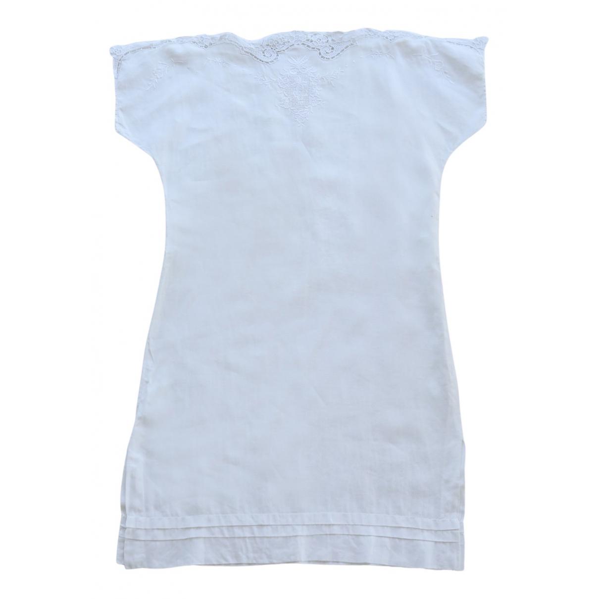 Non Signe / Unsigned Epaulettes Kleid in  Weiss Baumwolle