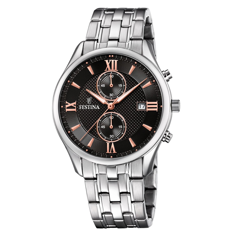 Festina Men's Timeless Chrono F6854-7F37 Black Stainless-Steel Quartz Dress Watch